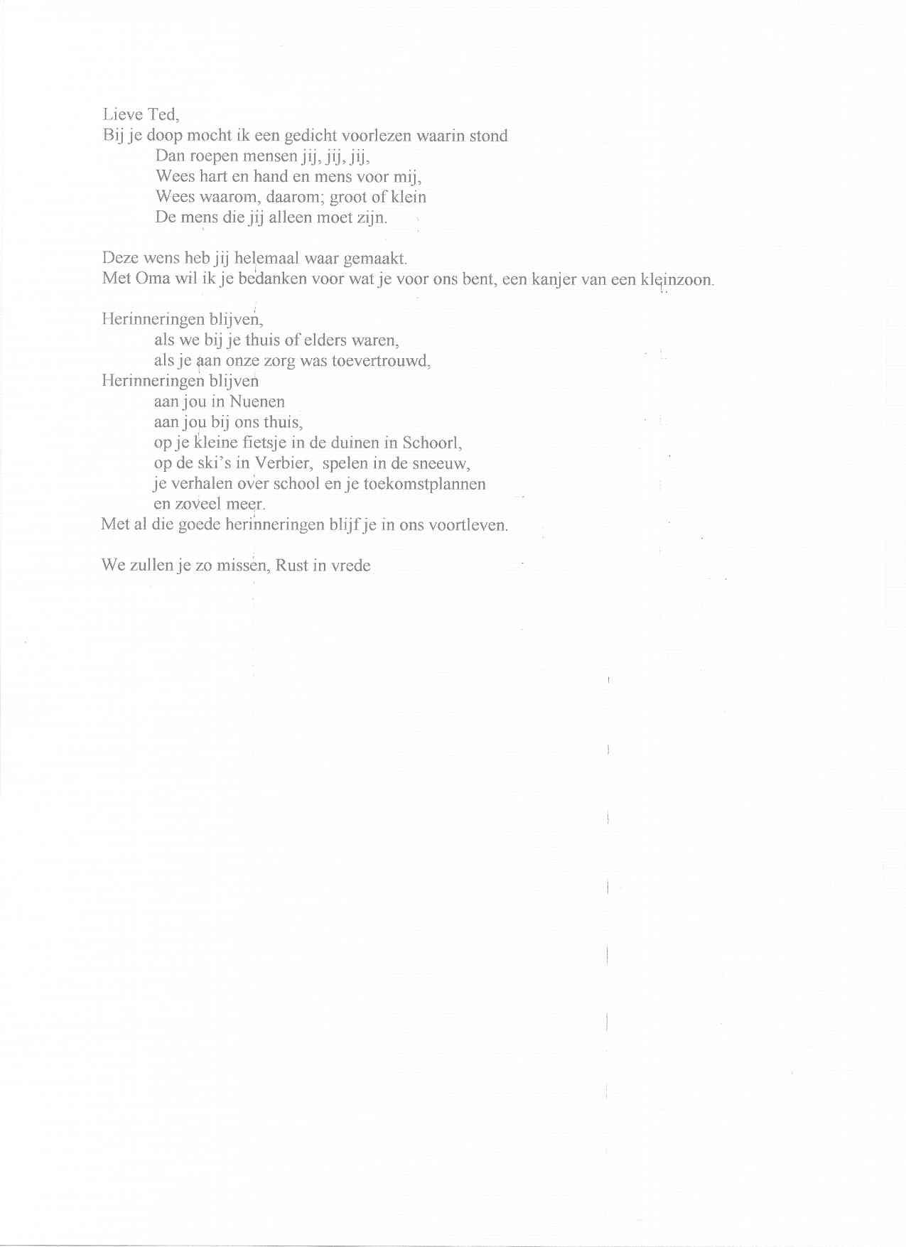 Uitgelezene Begrafenis Teksten Ted Alfrink KL-92